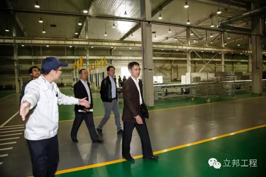 来宾莅临廊坊立邦涂料有限公司节能装饰一体板工厂   万达商业地产设